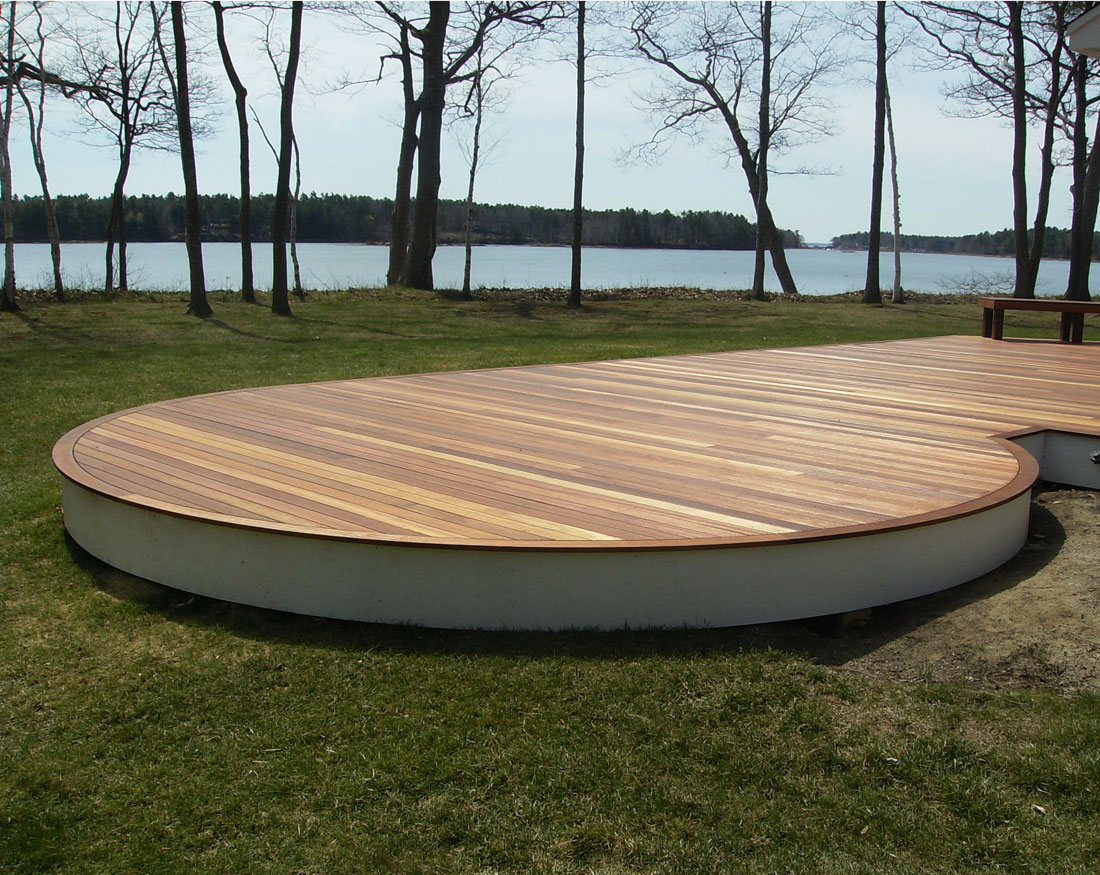 Curved mahogany deck