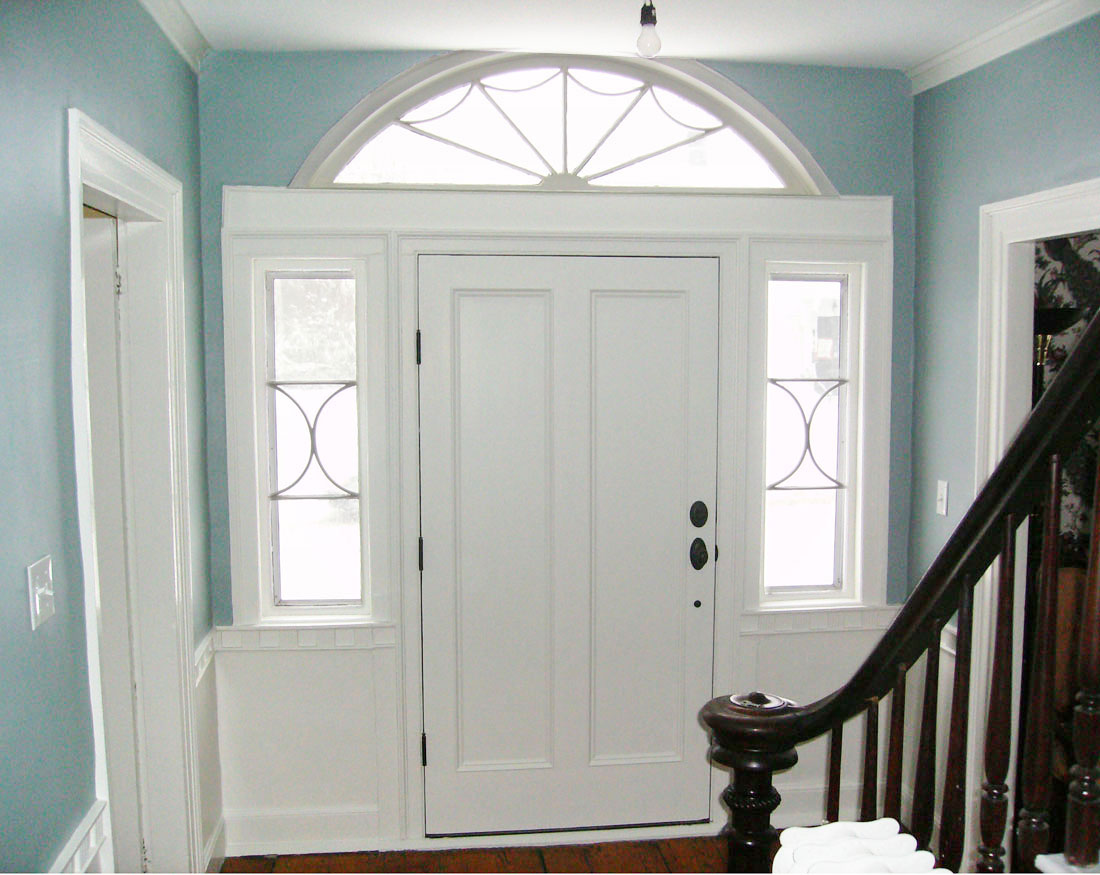 Custom front door with half round window and sidelites