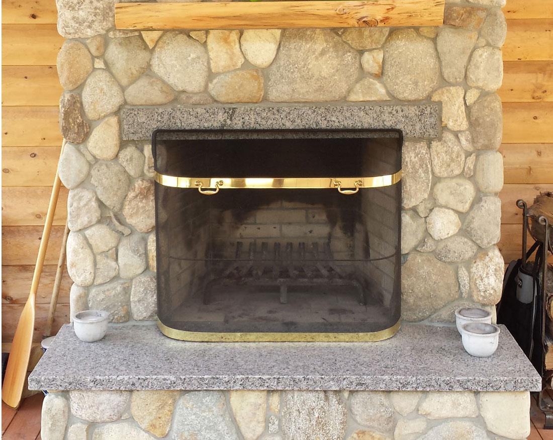 Fieldstone fireplace and chimney