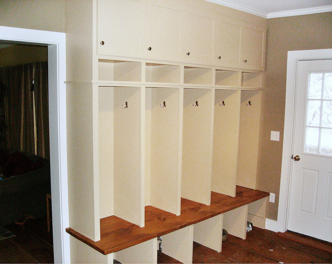 On-site custom built-in coat cubicles
